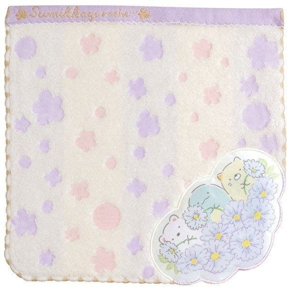 【角落生物 小方巾】角落生物 高質感 小方巾 毛巾 花朵 日本正版 該該貝比日本精品 ☆