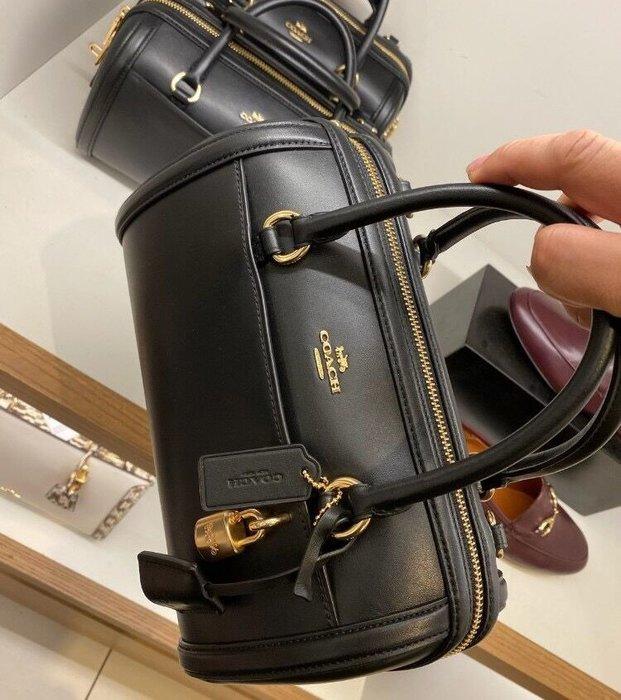 小皮美國正品代購 COACH 76705 新款女士手提包 全素色光面紋波士頓枕頭包 單肩斜挎包 鎖頭包 附購證