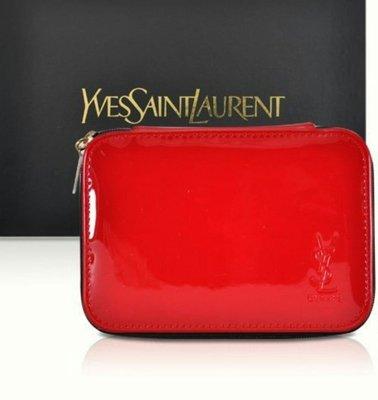 YSL 紅色漆皮方形包 內含鏡子