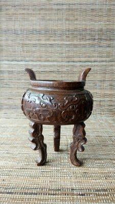 [達古堂] 清 竹雕饕餮紋鼎式炉