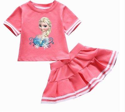 女童短裙套裝冰雪奇緣2愛莎圖案衣服純棉T恤短裙寶寶韓版洋氣夏裝