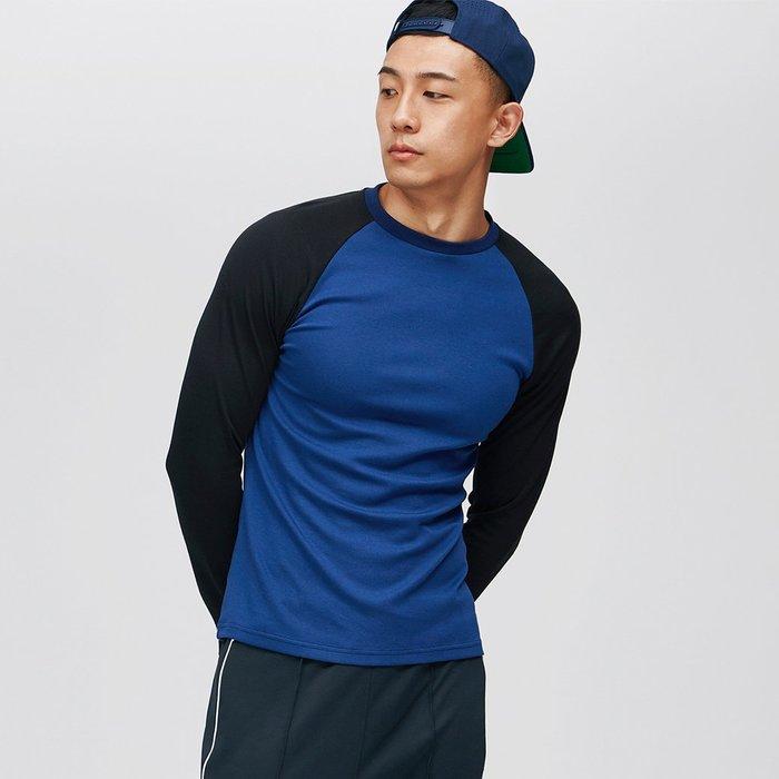 【OTOKO Men's Boutique】固制:復古拼色插肩長袖/藍身黑袖(台灣獨家代理)