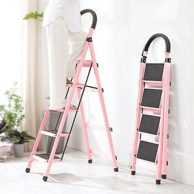 『i-Home』室內人字梯子家用折疊四步五步踏板爬梯加厚鋼管伸縮多功能扶樓梯