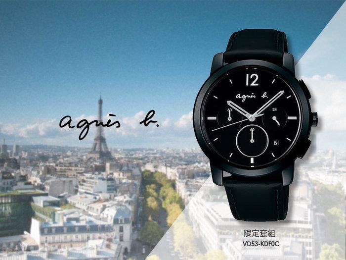【時間道】agnes b. 30週年三眼計時腕錶限定套組/黑面雙錶帶(VD53-KDF0C/BT3041X1)免運費