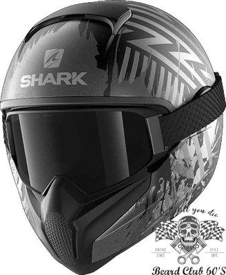 ♛大鬍子俱樂部♛ SHARK ® Vancore 2 Overnight 法國 原裝 復古 全罩 安全帽 消光 黑/灰