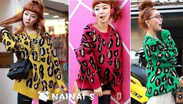 【NAINAIS】 韓版 繽紛糖果色潮人大豹點撞色長版寬鬆毛衣 棕黃色現貨