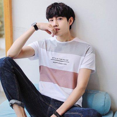 2019男士新品短袖t恤 男式夏季純棉條紋衣服半袖衫圓領韓版男裝bf 短袖POLO衫