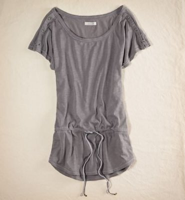 AMERICAN EAGLE_女裝_Aerie Button Sleeve Tunic 鈕釦袖抽繩上衣現貨L號