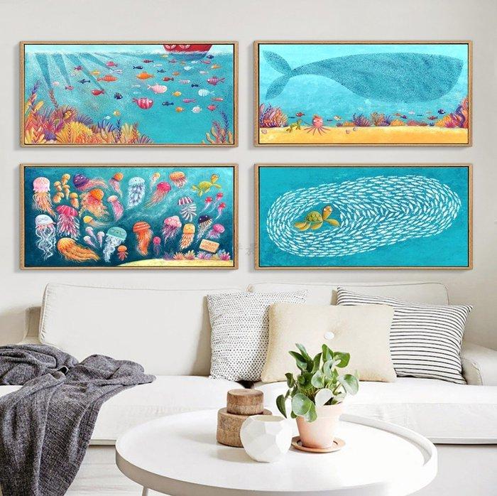 北歐現代簡約海底植物床頭卡通裝飾畫芯畫布高清微噴打印掛畫壁畫(不含框)