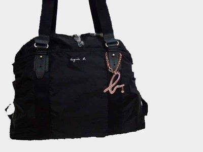 agnes b. 黑色尼龍旅行包 附經典字母b吊飾 black nylon travelling bag