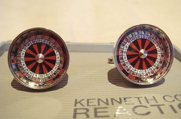 大降價!全新 Kenneth Cole Reaction 銀色紅輪盤造型金屬袖扣,父親節情人節生日贈禮!無底價!免運費!