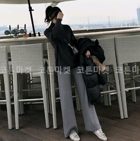 【現貨】妖精韓衣藏-正韓-韓國空運- 休閒簡約顯瘦寬管針織闊腿長褲 19P1204