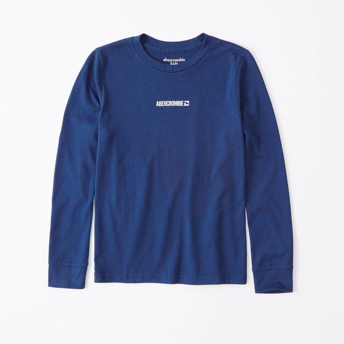 【abercrombie kids】【a&f】af男童款長袖T恤印小白字鹿寶藍 F07191118-37