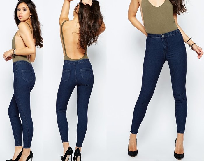 ◎美國代買◎ASOS超包覆感顯廋合身古董深藍高腰合身牛仔褲~歐美時尚~有大尺寸