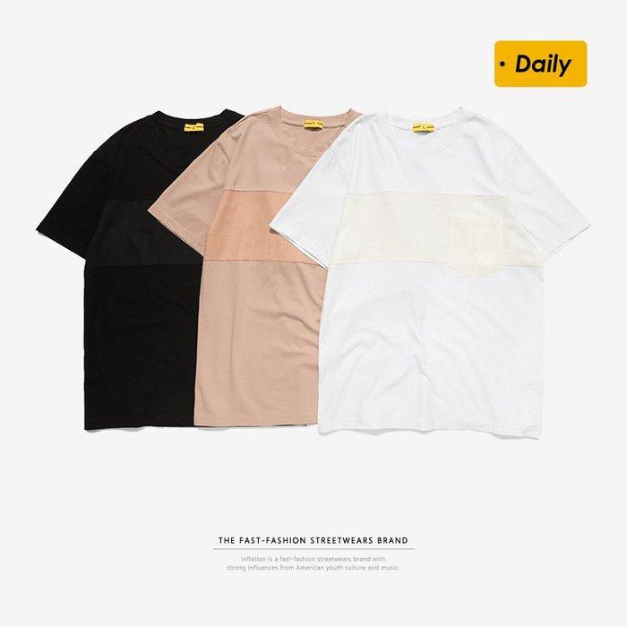 TST- 拚接 素面 素T 寬鬆 大尺寸 oversize 落肩五分袖 短袖T恤 短T 情侶款美式西岸