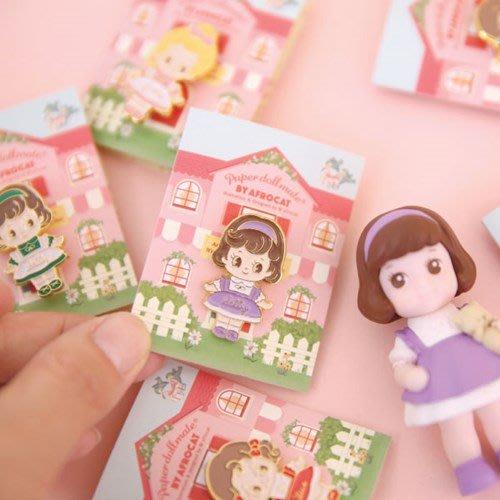 好心情日韓正品雜貨『韓國 Afrocat』Paper Doll Mate 洋娃娃裝飾胸針 胸章徽章
