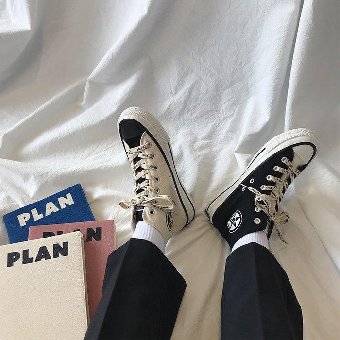小尤家~高幫帆布鞋女學生韓版新款ulzzang原宿百搭ins潮街拍港風板鞋