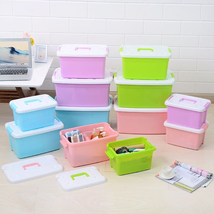 可手提大號塑料收納箱有蓋整理箱衣服玩具收納盒儲物盒箱子儲物箱