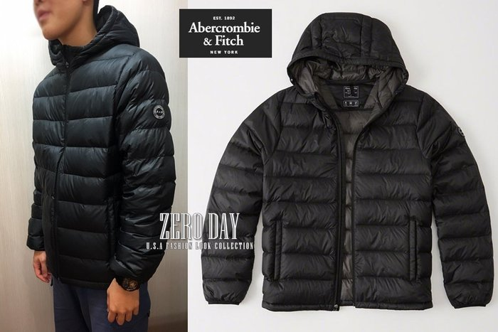 A&F真品Abercrombie&Fitch Lightweight Hooded Puffer Jacket羽絨外套黑