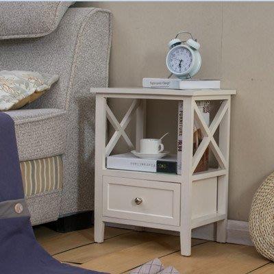 歐式臥室床頭櫃簡約現代白色實木床邊櫃迷你小斗櫃簡易儲物櫃整裝WY 【全館免運】