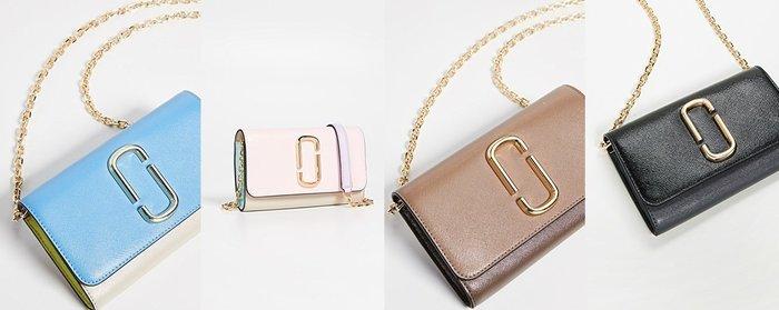 ◎美國代買◎Marc Jacobs snapshot wallet on chain經典logo裝飾寛長夾金屬鏈斜肩背包
