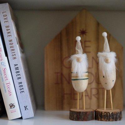 手繪卡通風木質聖誕老人桌面擺件迷你聖誕公仔禮物聖誕裝飾品