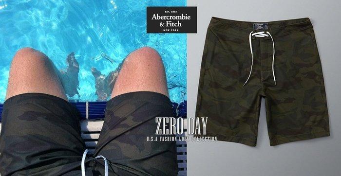 【零時差美國時尚網】A&F Abercrombie&Fitch Board Fit Swim Shorts軍綠迷彩海灘褲
