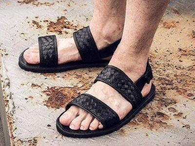 日暮瓦宅 SA55 歐美休閒編織真皮羅馬涼鞋男鞋涼鞋