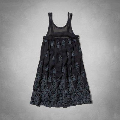 Maple麋鹿小舖 Abercrombie&Fitch * AF 深藍色無袖雪紡電繡洋裝*( 現貨S號 )