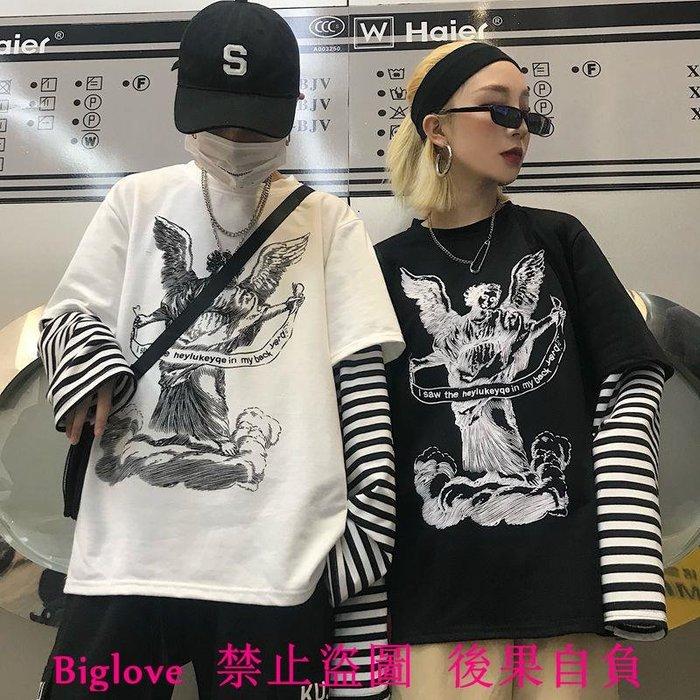 18韓國復古圖案印花條紋拼接假兩件長袖T恤 男女款