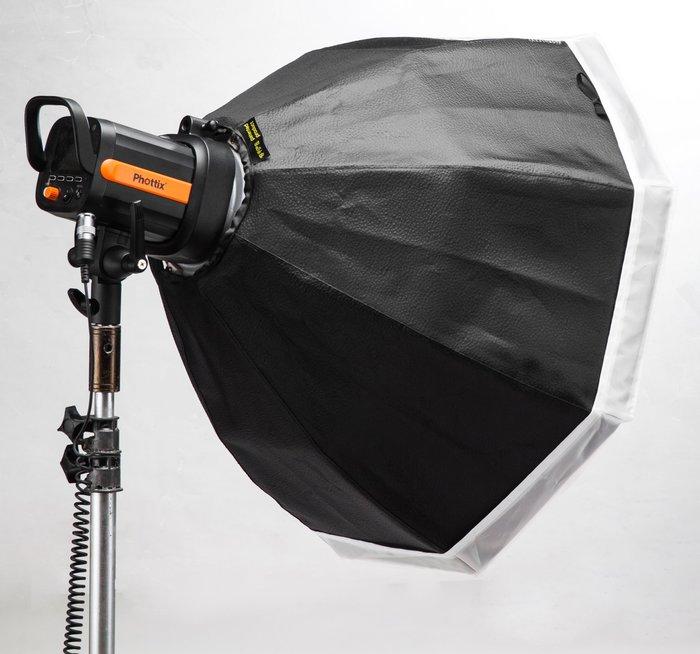 呈現攝影-折疊型雷達罩深弧型 60cm 銀色 八角 附柔光布 美膚罩 外拍棚拍 快收罩 離機閃 Bowens卡口