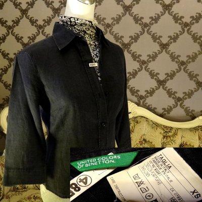Benetton班尼頓黑五分袖襯衫 棉紗襯衫 義大利專櫃品牌購買 出清價490元