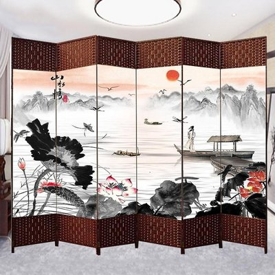 中式屏風隔斷簡易摺疊客廳玄關牆行動摺屏簡約現代辦公室實木屏風