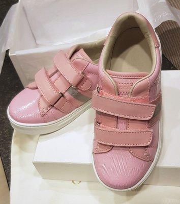 全新正品 GUCCI 童鞋 經典款 壓紋 粉色 26 女童鞋 古馳 魔鬼氈