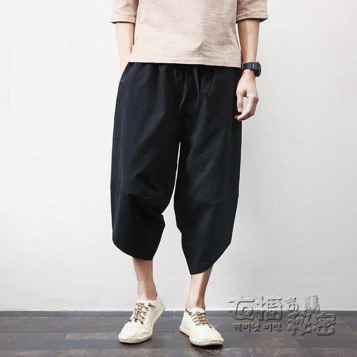 泰國燈籠褲男中國風亞麻七分褲社會小伙寬鬆哈倫褲潮尼泊爾