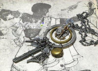 Change Fashion【歐美】古銅銀雙環設計款船錨天使邱比特字母多元素限量復古個性鍊-491099-0751
