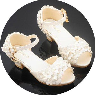 女童涼鞋 公主鞋 小中大童花朵小孩子兒童高跟鞋—莎芭