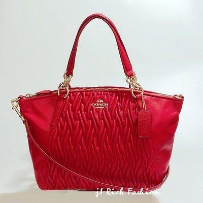 【就愛精品店】COACH  37081 紅色馬車款皺褶皮革斜背/側肩兩用包【特價!$5580】