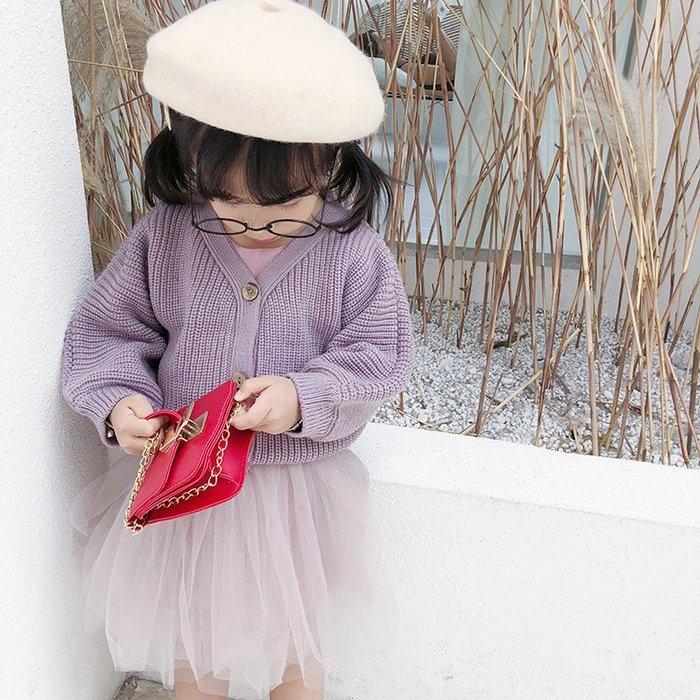 [C.M.平價精品館]新品特價90~130/保暖舒適紫色針織外套 中童/小童