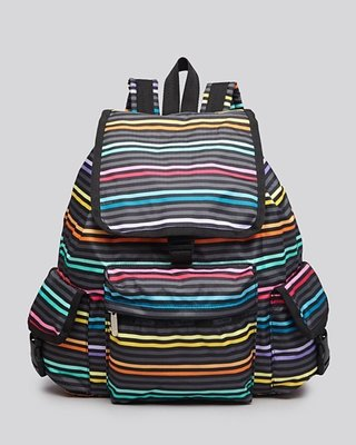 美國名牌Lesportsac 7839 專櫃款多彩橫條防水尼龍(大款)後背包~現貨在美~特價$2680~含郵