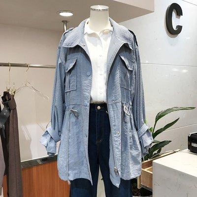 韓國2018春裝新款choco lady翻領純色抽繩系帶中長款風衣