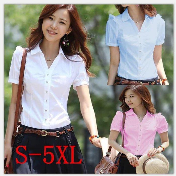 貓姐的團購中心~R0420 氣質泡泡袖襯衫~3種顏色~S-5XL一件290元~預購款