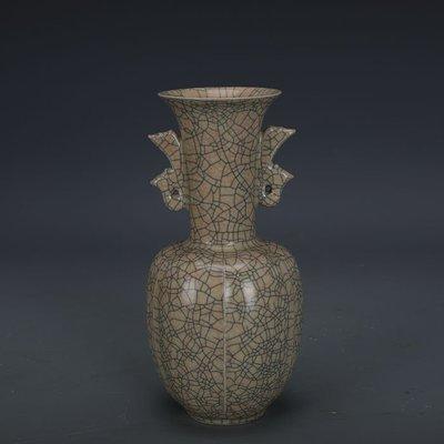 ㊣姥姥的寶藏㊣ 宋代哥窯金絲鐵線支釘鳳耳尊  出土文物古瓷器 古玩古董收藏擺件