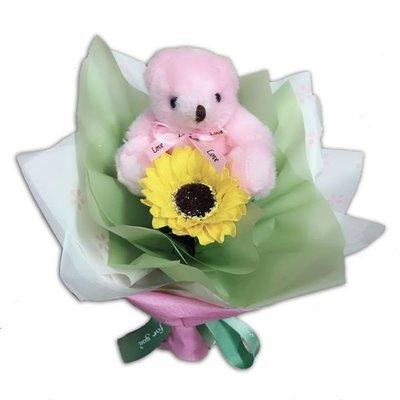 娃娃屋樂園~🌻小熊向日葵香皂花束-迷你款 每束235元/歡迎團購/畢業花束