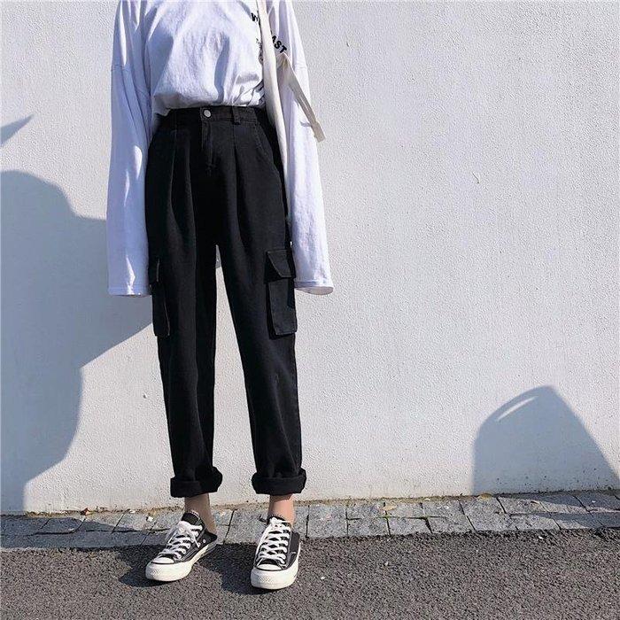 韓版寬松黑色工裝牛仔褲女冬季百搭學生加厚哈倫褲高腰直筒褲長褲
