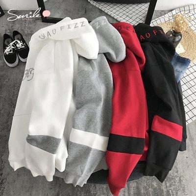 【Y217】SMILE-簡約港風.配色字母長袖連帽上衣