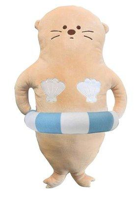 日本進口 限量品 好品質海獅海豹海狗海洋動物游泳圈抱枕沙發靠枕頭裝飾品擺件絨毛娃娃玩偶送禮禮物 3679b