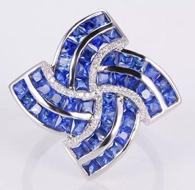 [福報來了]3.75克拉藍寶石+真金真鑚 設計款戒指(編號531) 聖誕新年禮物