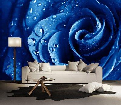 客製化壁貼 店面保障 編號F-283 藍色玫瑰 壁紙 牆貼 牆紙 壁畫 星瑞 shing ruei