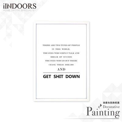 英倫家居 北歐相框裝飾畫 Get Shit Down 雜誌款 白色 63x43cm 室內設計 展覽布置 實木畫框 照片牆